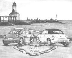 Drawings of Cars - Love Bugs