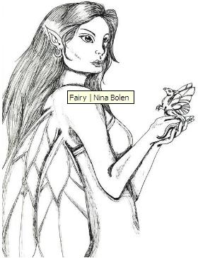 Ink drawings of fairies 1