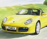 Drawings of Cars - Yellow Porsche Watercolor