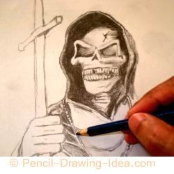 Pencil drawing of a skull - Sketch 3