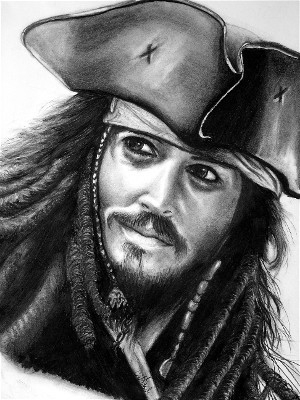 Johnny Depp drawing portrait