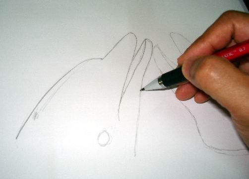 Re-sketch using a 2B mechanical or sharpened pencil