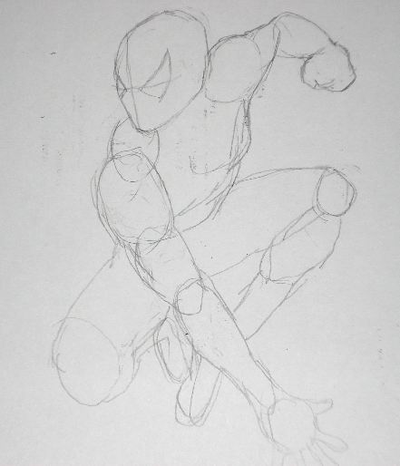 Pencil Drawings of Spiderman - Sketch 1