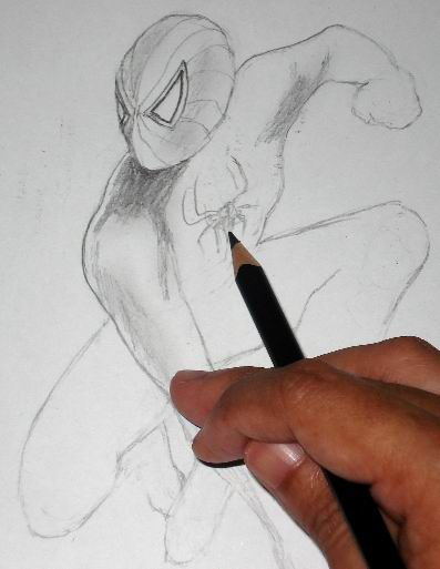 Pencil Drawings of Spiderman - Toning 1