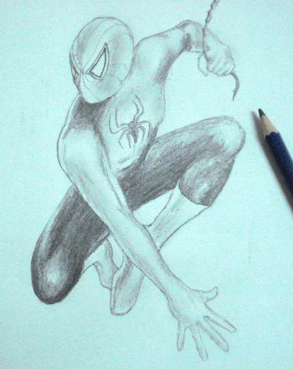 Pencil Drawings of Spiderman - Toning 4