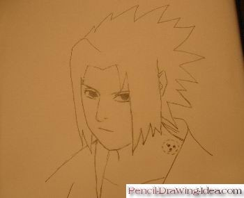 How to draw Sasuke Uchiha - Sketch 7