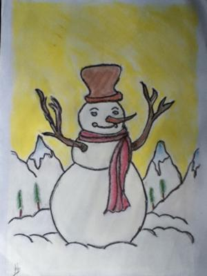 Snowman - Charcoal Painting