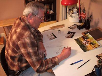 Artist at work in studio